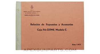 CETME Model C Small Parts Booklet, Original Spanish, *Good*