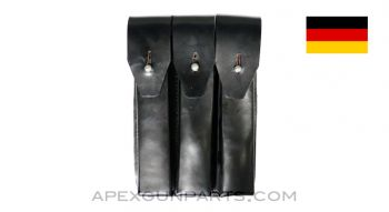MP5 / MP2 UZI Magazine Pouch, 9mm, Black Leather, West German, *Good*
