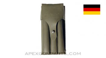 MP5 / MP2 UZI Magazine Pouch, 9mm, Green Vinyl, West German, *Good*