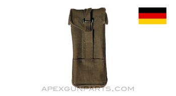 MP5 / MP2 UZI Magazine Pouch, 9mm, Green Canvas, West German, *Good*