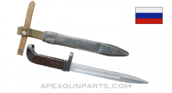 Russian AK-47 Bayonet and Scabbard, Type 1, 1953-1959 Izhevsk, Brown Grip, *Fair / Heavy Use*