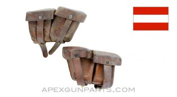 Steyr M95 Magazine Pouch Set, Left & Right, Leather, *Good*