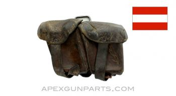 Steyr M95 Magazine Pouch, Left Side, Leather, *Good*