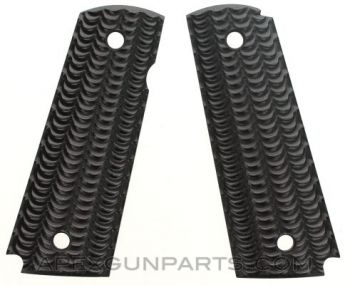 BLACK FRIDAY! R1 1911 Grip Panels, Scalloped Wood Pattern, Black, Ambidextrous Safety Cut, NEW