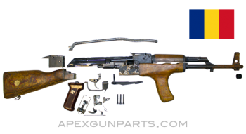 Romanian M63 AK-47 Part Set, Populated Barrel, Fixed Stock, Matching, 1980 Dated *Good/Rusty*