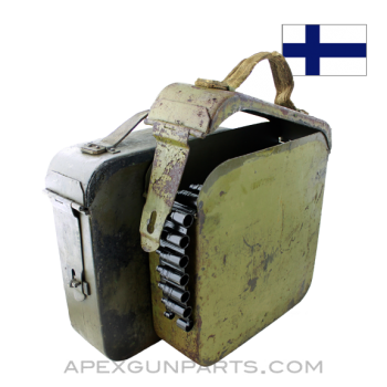 Finnish Maxim M1910 Ammo Can, w/200rd Belt, 7.62X54r *Good*