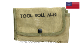 USGI M12 Tool & Spare Parts Roll, OD Canvas *Excellent*