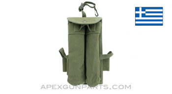 Thompson 30rd Dual Magazine Pouch, OD Green Canvas, ALICE Clips, Greek, *Very Good*
