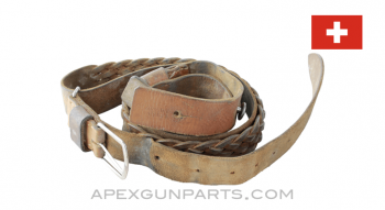 Swiss Rifle Sling, Braided Leather, *Good*