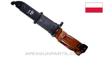 Polish Tantal AK-74 / AK-47 Type 2 Bayonet & Scabbard w/Leather Hanger, Matching Numbers *Very Good*