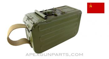Soviet PKM Assault Ammo Can, with Links, Green Painted Aluminum, *Good*