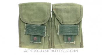 .308 20rd Magazine Pouch, 2 Pocket, OD Green Canvas, Early *Fair*