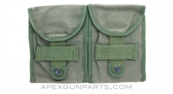 .308 20rd Magazine Pouch, 2 Pocket, OD Green Canvas, Late *Fair*