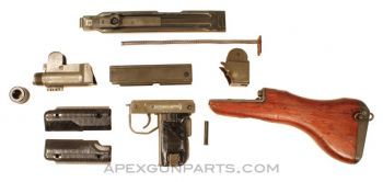 UZI Parts Kit w/Wooden Stock, Includes Front Trunnion, *Good To Very Good*