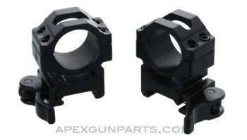 UTG 1 inch Max Strength Scope Rings, QD Leverlock, Medium Profile, Set of 2, *NEW*