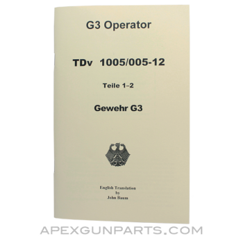 G3 Operator's Manual, Parts 1 & 2, Translated From Original 1971 Issue, Paperback, *NEW*