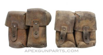 SKS Ammunition Pouch, Set of TWO, Two Pocket, Leather, Yugoslavian, *Fair* with Stains, Sold *As Is*