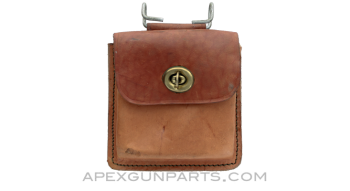M1 Carbine 15rd Magazine Belt Pouch, Holds 2, Brown Leather, Colombian, *Very Good*