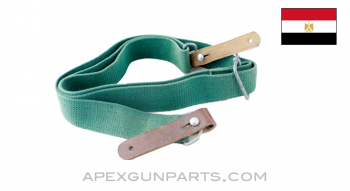 """Egyptian Rifle Sling, 49.5"""", Green Canvas *NOS*"""
