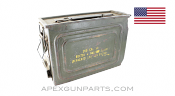 USGI M1A1 .30 Cal. Ammo Can, Steel w/Carry Handle & Mounting Latch, OD Green, *Very Good*