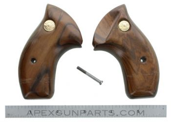 Taurus Revolver Wood Grips, Medium Frame, Round Butt w/o Full Relief Cut, Smooth, *NOS*
