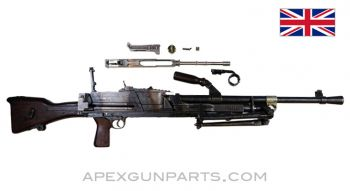 "BREN Mk 2 Parts Kit w/Cut Receiver Pieces, 23"" Barrel, w/ Bipod, .303 British, *Good*"