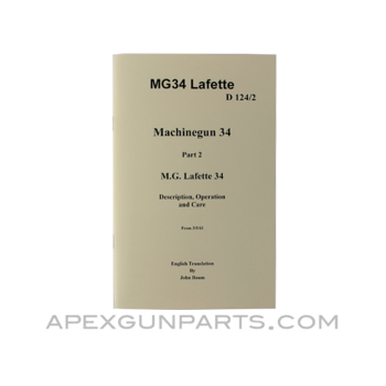 MG 34 Lafette Operator's Manual, Translation From Original, Paperback, *NEW*