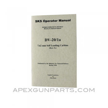 SKS Operator's Manual, East German Issue, Translated From Original, Paperback, *NEW*
