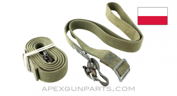 Polish AK-47 Canvas Sling with Leather Tabs, Type 2, *Good*