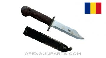 Romanian AK-47 Bayonet and Scabbard, Type 2, Sold *As Is*