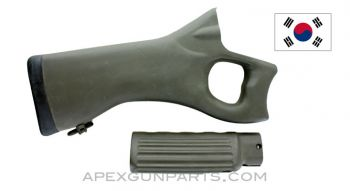 Daewoo DR 200 / 300 Thumbhole Stock and Handguards, Green Polymer, *Very Good*