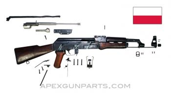 "1958 Polish KbK Model ""N"" Milled AK-47 Parts Kit, Laminated Furniture, Scope Rail, 7.62X39"