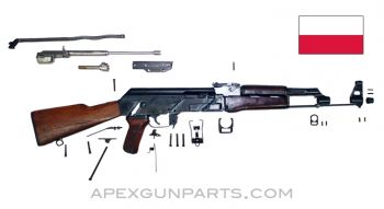 "1958 Polish KbK Model ""N"" Milled AK-47 Parts Kit, Hardwood Stock, Scope Rail, 7.62X39"