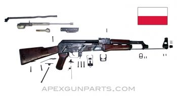 "1957 Polish KbK Model ""N"" Milled AK-47 Parts Kit, Hardwood Stock, Scope Rail, 7.62X39"