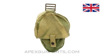 1914 Lewis Gun Magazine Pouch, WWII, OD Green Canvas, South African, *Good / Discolored*