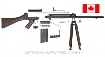 "Canadian C2A1 FAL Heavy Rifle Parts Kit, 21"" Barrel, Wood Stock with Bipod, 7.62X51 NATO, w/(1) Magazine, *Good*"
