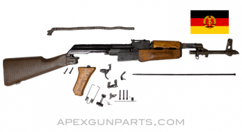 East German DDR AK-47 MPi-KM Parts Kit, Wood Forend w/ Pebble Stock, Matching, Blued, 7.62X39, *Good*