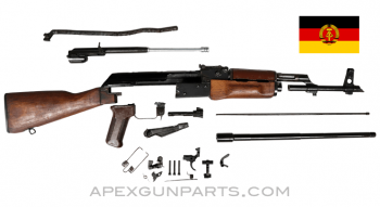 1967 East German AK-47 MPi-KM Parts Kit, Wood Stock, Marked Trunnion, Sanitized Parts, 7.62X39, *Excellent*