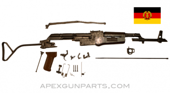 East German DDR AK-47 MPi-KM Parts Kit, Side Folding Stock, Non-Matching, Plastic Furniture, 7.62X39, *Very Good*