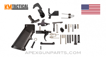 KM Tactical AR-15 Lower Receiver Parts Kit (LPK), w/A2 Grip, *NEW*