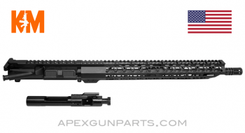 "KM Tactical Upper w/Bolt & Carrier, 16"" M4 Barrel 1-8, 15"" M-LOK Rail, 5.56 NATO, *NEW*"