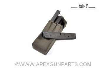 Uzi 32rd Magazines, Steel, Three W/Canvas Pouch, 9MM