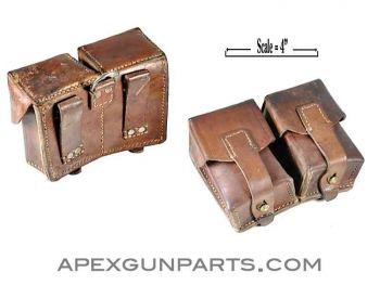 Mauser Rifle Ammunition Pouch, Two Pocket, Leather, Yugoslavian