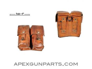 SKS Ammunition Pouch, Two Pocket, Leather, Yugoslavian